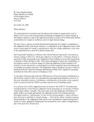letter to Stephen Harper - The United Church of Canada