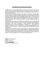 DIPARTIMENTO DI SCIENZE DEGLI ALIMENTI Il Dipartimento di ...