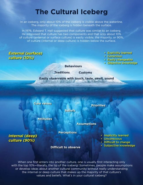 the cultural iceberg the united church of canada