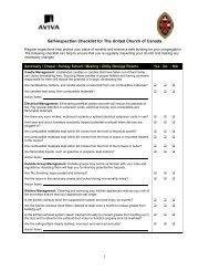 Self-Inspection Premises Checklist - The United Church of Canada