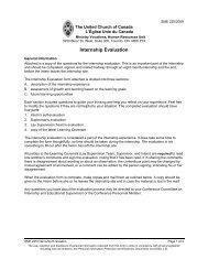 SME 225: Internship Evaluation - The United Church of Canada