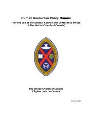 Human Resources Policy Manual - The United Church of Canada