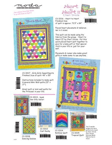 Page 1 11/07 CS 10116 - Heart to Heart Finished Size of quilt is ...