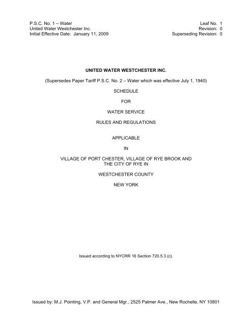 Tariff (PDF) - United Water