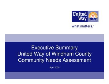 Executive Summary - the United Way of Windham County