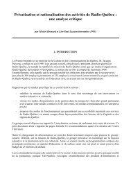 Privatisation et rationalisation des activités de Radio-Québec : une ...