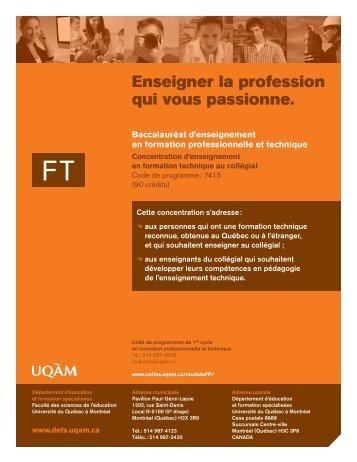 Enseigner la profession qui vous passionne. - UQAM
