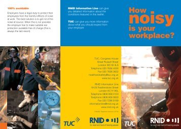 How noisy is your workplace? (TUC-RNID leaflet) - Unite the Union