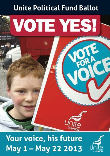 Unite political fund ballot flyer - Unite the Union