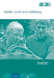 Advisory booklet - Health Work and Wellbeing - Acas
