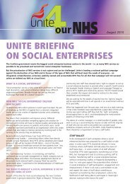 Health Sector Social Enterprises briefing - Unite the Union