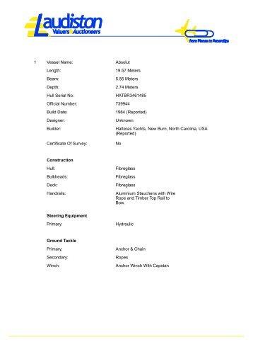 Hatteras - Specifications