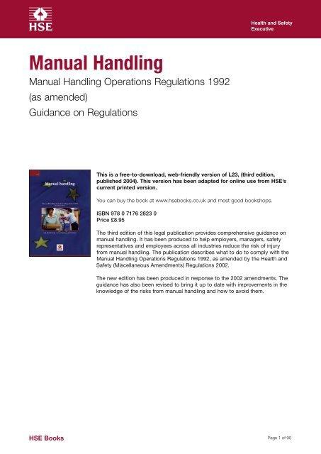Manual Handling Manual Handling Operations Regulations 1992