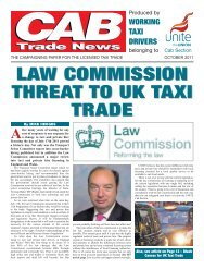 Law Commission threat to UK taxi trade - Unite the Union