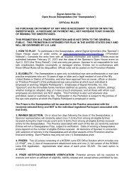 Official Rules - Signet Armorlite, Inc.