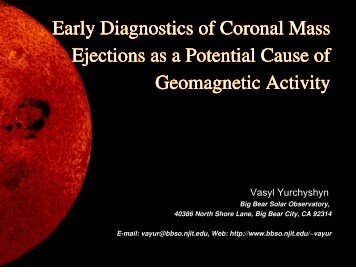 Early Diagnostics of Coronal Mass Ejections as a Potential Cause of ...