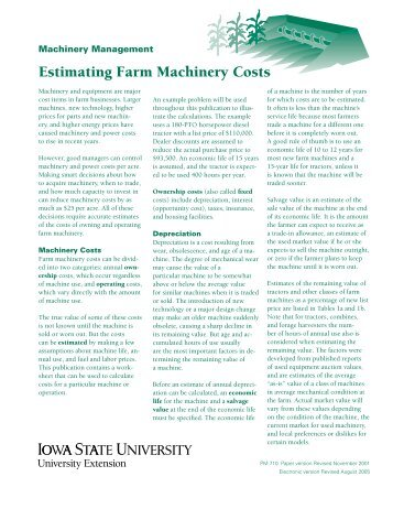 Estimating Farm Machinery Costs - National Ag Risk Education Library