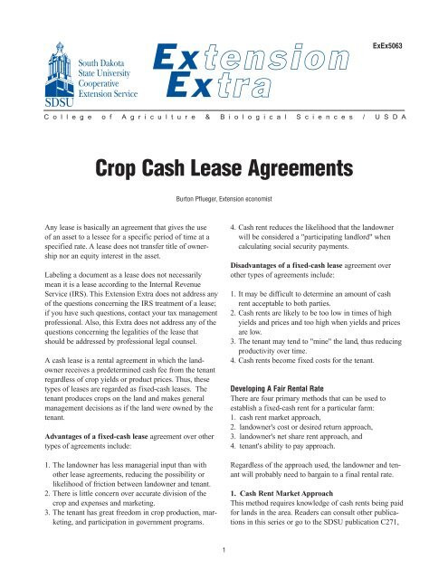 Crop Cash Lease Agreements National Ag Risk Education Library