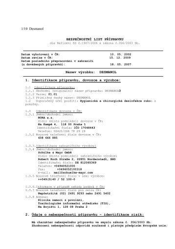 1/10 Desmanol BEZPEČNOSTNÍ LIST PŘÍPRAVKU Název výrobku ...
