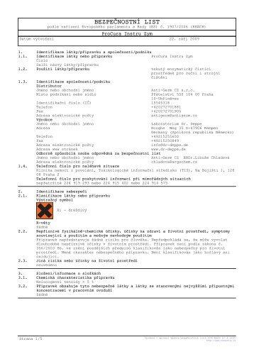 Bezpečnostní list - IVA spol. s ro