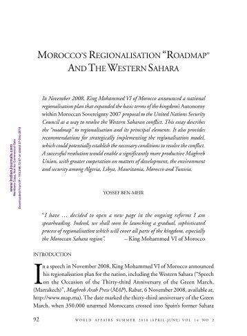 Morocco's regionalisation Roadmap and The Western Sahara