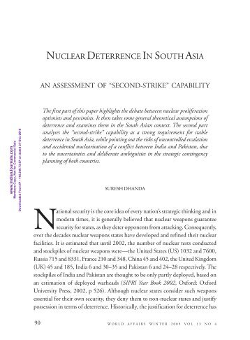Indo us 123 agreement impacts on deterrence stability in south asia nuclear deterrence in south asia mimts platinumwayz