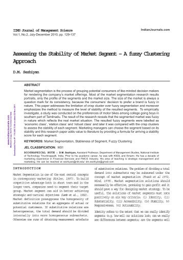 Assessing the Stability of Market Segment – A fuzzy ... - Mimts.org