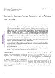 Constructing Consistent Financial Planning Models for ... - Mimts.org