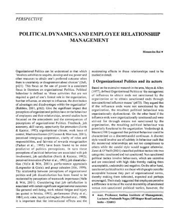 political dynamics and employee relationship management - Mimts.org