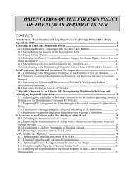 orientation of the foreign policy of the slovak republic in 2010