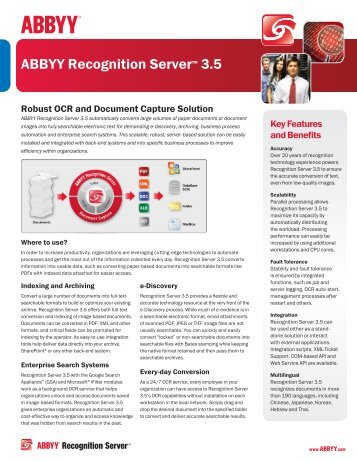 ABBYY Recognition Server™ 3.5