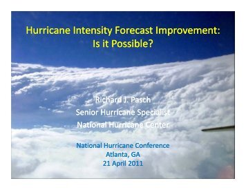 Hurricane Intensity Forecast Improvement - National Hurricane ...