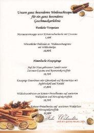 Speisekarte Weihnachts-Specials - Forsthaus Wiesmann, Möhnesee