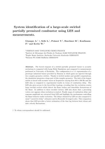 System identification of a large-scale swirled partially ... - cerfacs