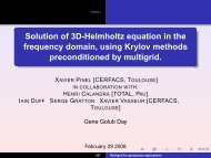 Solution of the three-dimensional Helmholtz equation using ... - cerfacs