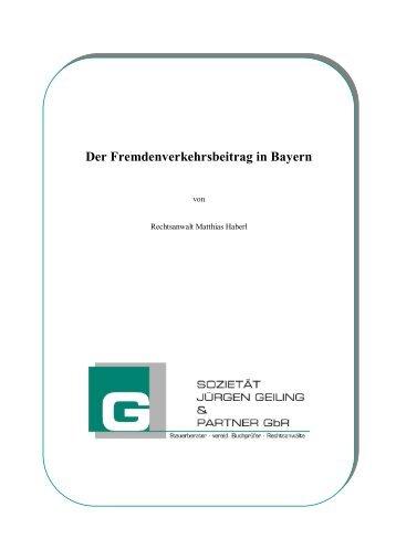 Der Fremdenverkehrsbeitrag in Bayern - Freie Wähler Furth im Wald