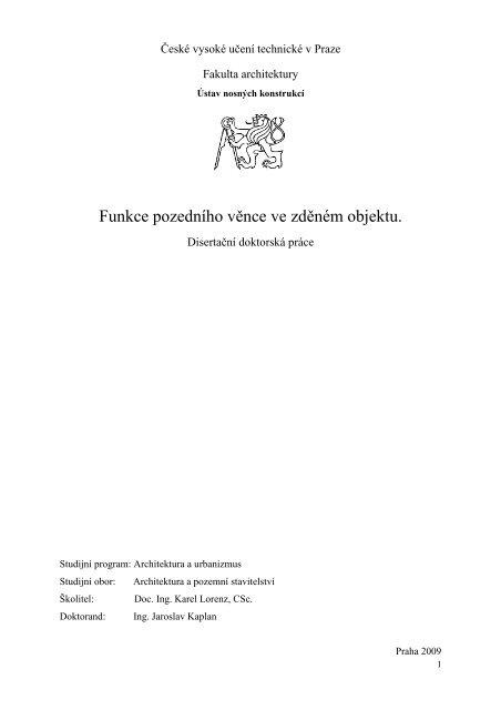 Funkce pozedního věnce ve zděném objektu - ČVUT v Praze ...