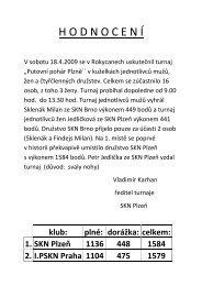 Putovní pohár - Plzeň - I.PSKN Praha