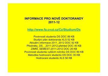 Informace pro nové doktorandy – 2011/12 - ČVUT v Praze, Fakulta ...
