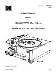 Parts List Kodak Carousel 760, 760H, 850, 850H, 860