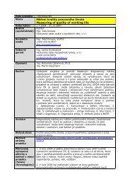 Měření kvality pracovního života - Ministerstvo práce a sociálních věcí