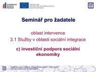Seminář pro žadatele - Ministerstvo práce a sociálních věcí