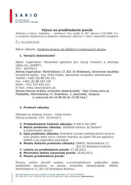 Výzva na predkladanie ponúk - Sario af73565eef8