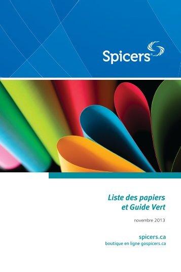 Liste des papiers et Guide Vert - Spicers Canada