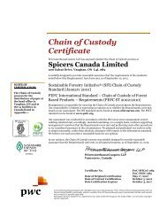 PEFC & SFI Chain of Custody - Spicers Canada