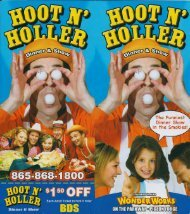 Hoot N Holler Dinner Show Pigeon Forge Brochure - The Great ...