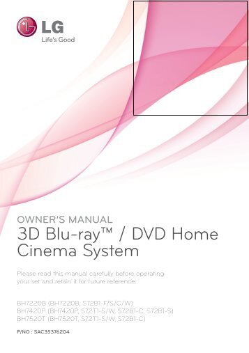 3D Blu-ray™ / DVD Home Cinema System - Vanden Borre