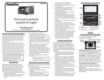 Diccionario parlante español inglés - Franklin Electronic Publishers
