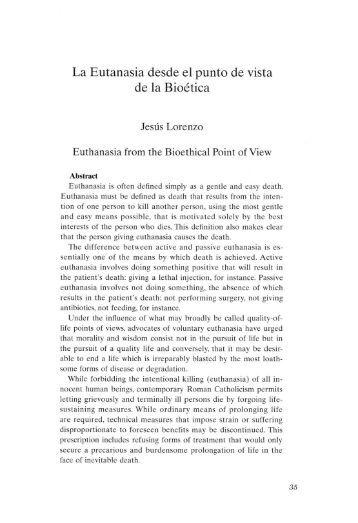 La Eutanasia desde el punto de vista de la Bioética