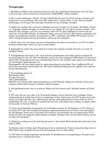 Pdf-dokument: Melodifestivalen 2002: Tävlingsregler - Svt